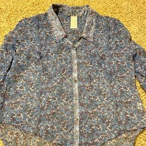 Free People blue floral button up